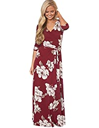 84c44b964193a Landove Vestito Lungo Elegante Donna Cerimonia Abito Maniche 3 4 Vestiti  Stampa Floreale Scollo a
