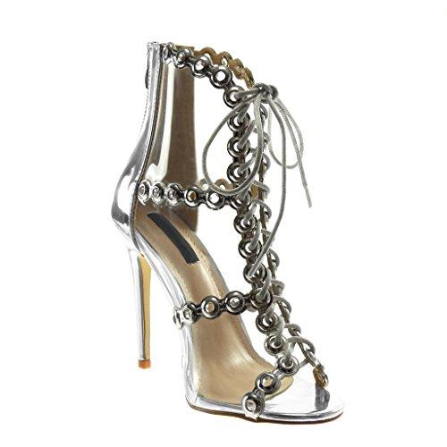 Angkorly Chaussures Sandales Décolleté À Talon Peep-toe Stiletto Femme Perforé Transparent Dentelle Talon Stiletto Tall 11.5 Cm Argent