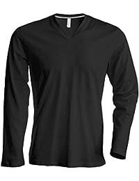 712883c79f853 Kariban - Camiseta Básica entallada con cuello de pico o V de manga larga -  100
