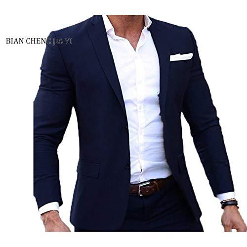 Business Mann Kostüm - GFRBJK (Jacke + Hose) Männer Hochzeitsanzug Männliche Blazer Slim Fit Anzüge Für Männer Kostüm Business Formal Party Navy Klassische Männer Anzüge (Navy) 5XL