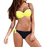 IZHH Damen Gepolsterter Push Up BH Bikini Set Badeanzug Bademode Beachwear Gepolsterter Bikini Bandeau Gepolsterter Badeanzug Zweiteiler Strand Swimwear(Gelb,Small)