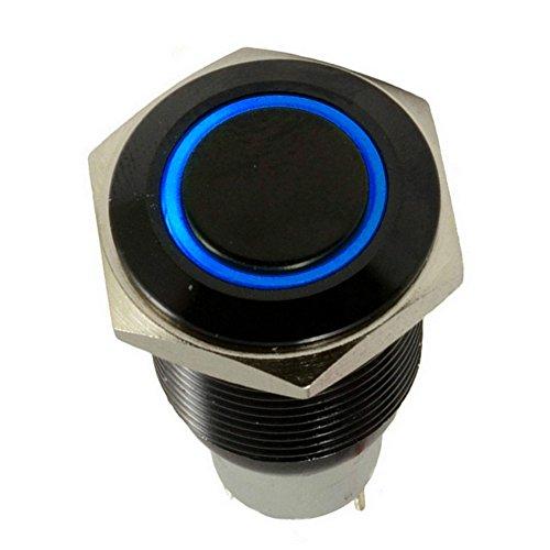 Preisvergleich Produktbild Mintice™ Schwarz Shell Engel Auge KFZ Kippschalter Druckschalter Schalter Drucktaster Druckknopf 16mm 12V Blau LED Licht
