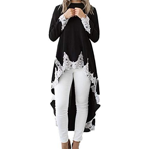 Damen Langarm Blusenkleid O-Ausschnitt Pullover Sweatshirt Swing-Kleid T-Shirt Kleid Festlich...