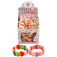 12 Heart Bracelet Party Bag Fillers / Girls Toys Kids Children Assorted Colours