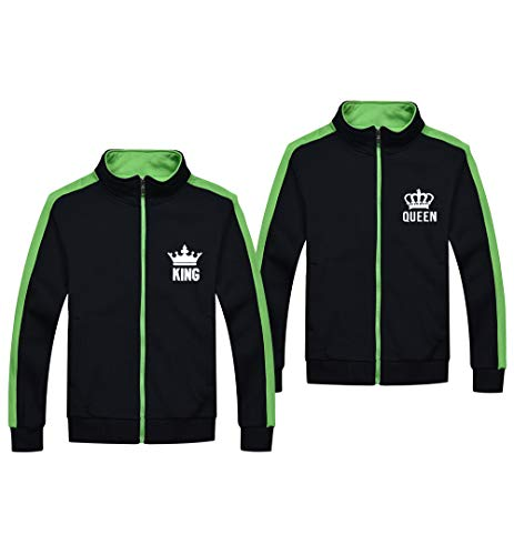 King Queen Sweatshirt Hoodies Set Paar Jacken King Queen Full Zip Sweater Paar Pärchen Pullover Damen und Herren 2 Stücke Camp Zip Hoodie