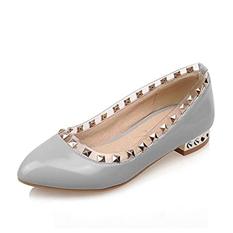 BalaMasa Ladies Slip-On Low-Heels Studded Gray Patent Leather Pumps-Shoes - 2.5 UK