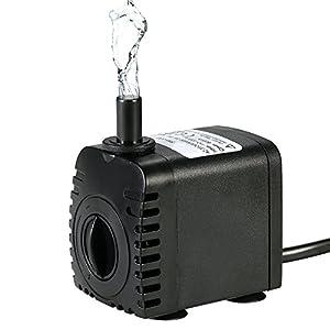 Bomba de Agua Sumergible,Decdeal 600L/H 8W Water Strider – con 2 Boquillas AC220-240V para Acuario Fuentes Estanque…
