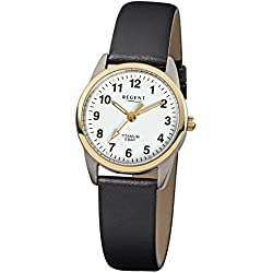 Regent Women's Analogue Leather Strap Watch Elegant Quartz Watch with Black Quartz Dial White URF661