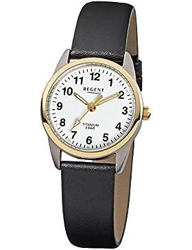 Regent Damen-Armbanduhr Elegant Analog Leder-Armband schwarz Quarz-Uhr Ziffernblatt weiß URF661