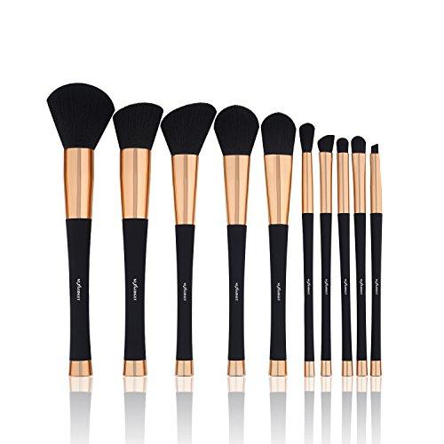 NEXGADGET Pinceaux Maquillage Kit de Pinceau Brosse Maquillage Maquillage Ovale En Fibre Synthétique douce 10 Pièces Pour Outils cosmétiques à Pinceau de Poutre Correcteur Fondant Eye-liner (Poignées Noires)