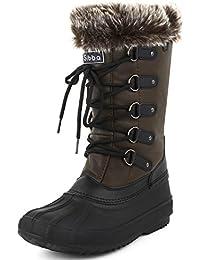 Sibba Botas de Nieve para Mujer de Media Pantorrilla Botas de Invierno Forro de Piel Resistente al Frío y al Agua