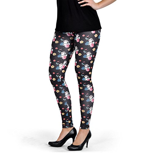 Elbenwald Bambi Damen Leggings Klopfer Flower Power Disney schwarz - S -