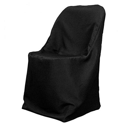 LinenTablecloth Polyester Klappsessel Bezug schwarz (Schwarz, Stoff Dining Chair)