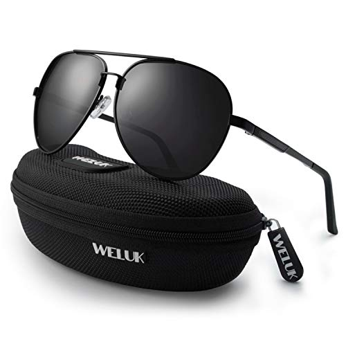 a114368f3826 WELUK Men s Classic Military Pilot Polarized Sunglasses UV400 Protection  for Driving with Spring Hinges (Black