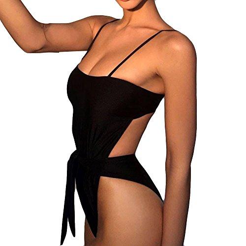 Monokini donna push up monokini donna sexy swimsuit benda tinta unita cavo sexy high cut backless bikini donna brasiliana monokini mare di un pezzo costumi da bagno intero costume nero (nero, s)