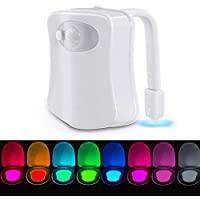 Lampe de Toilette Veilleuse LED Détecteur, VADIV TL01 Détecteur de Mouvement pour Cuvette Siège 8 Changement de Couleurs Éclairage WC Toilette Idéal pour Parents et Enfants