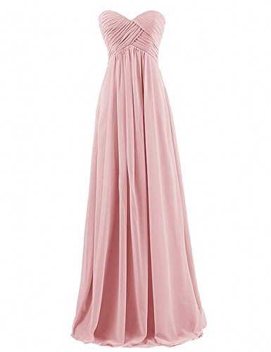 Miranda's Bridal Women's Sweetheart Pleated A Line Long Bridesmaid Dress Blush US14