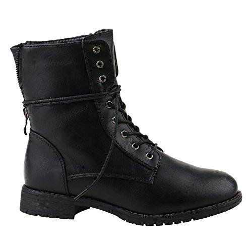 Damen Stiefeletten Profilsohle Worker Boots Leder-Optik Schnürstiefeletten Camouflage Verlours Schuhe 144216 Schwarz Schwarz 39 | Flandell®