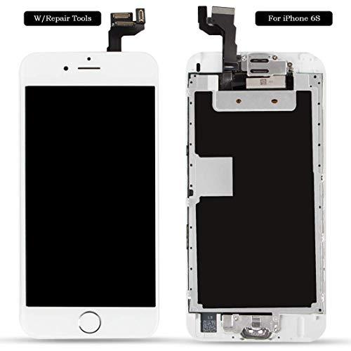 Ecran LCD Vitre Tactile Complet sur Châssis pour iPhone 6s Blanc avec Outils Bouton Home Écouteur Interne Caméra De Face Tout Assemblé