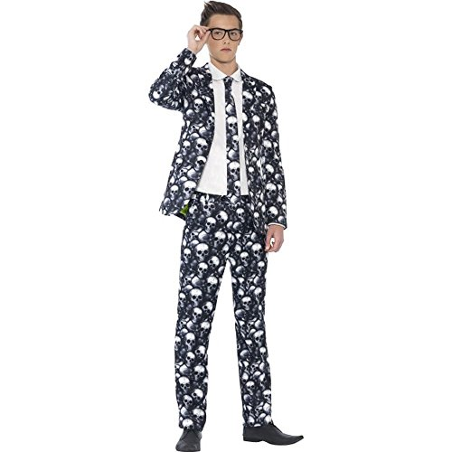 Anzug Teen Kostüm - Smiffys Halloween Teenager Kostüm Teen Skelett Anzug mit Krawatte Gr.S