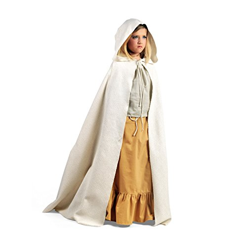 Mittelalter Cape mit Kapuze für Kinder schnürbare Gewandung bodenlang LARP Kostüm natur - 5/7 (Kind Kostüme Girl Renaissance)