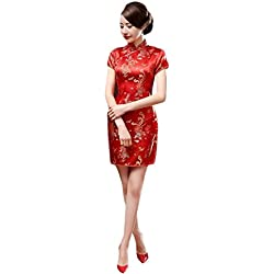 Hzjundasi Chino Tradicional Mujer Retro Floral Impreso Mangas Cortas Cheongsam Brocado Qipao Vestido de Noche 4XL