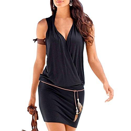 SUNNOW Elégante Tunique Robe Femmes Casual d'été sans Manches Col V Profond Robe de Plage Mini Robes T-Shirt Party Robe Court Mini Robe (L, Noir)