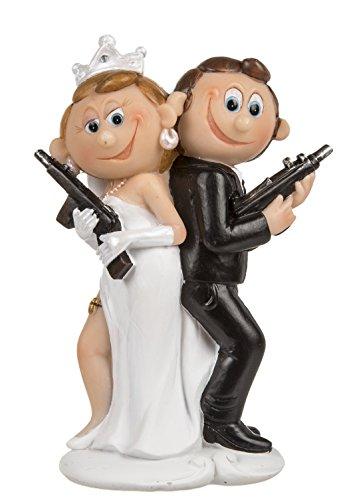 """Hochzeitsfiguren Brautpaar - Hochzeitsdeko - Hochzeitsfigur """"Brautpaar mit Pistole"""" Comic Design ~"""