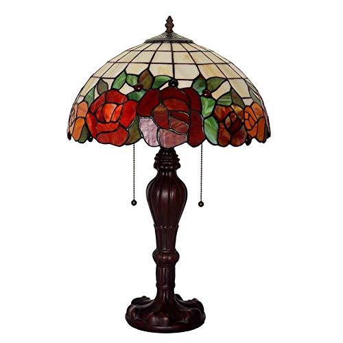 Tiffany-stil-rote Rose (Rote Rose Nachtlicht, Tiffany-Stil Tischlampe, für Pastoral Restaurant Bar Arbeitszimmer Dekoration Schreibtischlampe 16 Zoll E27)