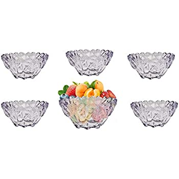 6 x Set Artcraft Multicolored Dessert Starter Bowl Glass Boxed Great for Gift