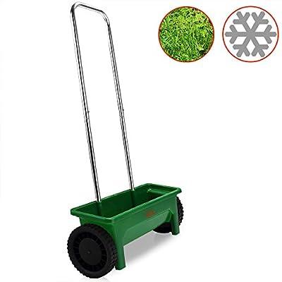 Streuwagen | 12L | 50cm Streubreite | praktische Abstellfüße - Saatgutstreuer Düngerstreuer für Salz Dünger Rasen Split Saatgut Streuer