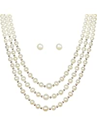 Freshme Fashion Jewellery White & Gold Mother-Of-Pearl Necklace Set For Women