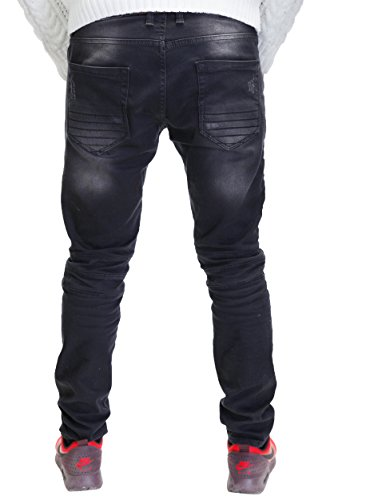 MERISH Destroyed Herren Jeanshose Look Chino Regular Fit Jeans Hose Neu Trend J2020 Schwarz
