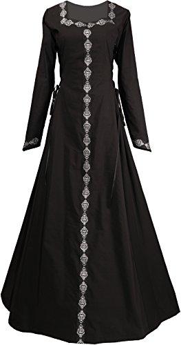 Dornbluth Damen Mittelalterkleid Estelle (44/46, Schwarz)