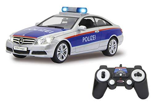 Jamara 405126 Mercedes-Benz E 350 Coupe Polizei Silber/rot 1:16 2,4G-deutsche Sirene, Alarmanlage, Start, Beschleunigungs, Brems, Zusperr-Ton, Hupe, Signalleuchte, 4 Geschwindigkeiten