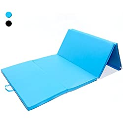ISE Grosor 5 cm, plegable con asas 4 pliegues, espuma antiderrapante, 240x120x5 cm, azul