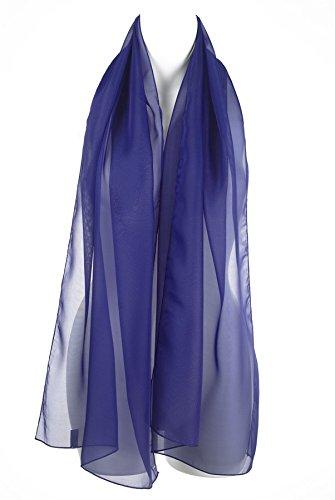 - 41obLHUwiTL - Classic Elegant Plain Blue Chiffon Ladies Womens Scarf Shawl Wrap