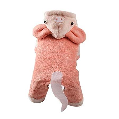 BaojunHT Pet's Christmas Costume Fleece Warmer Kapuzenmantel mit 3D-Schweinemütze und Schwanzwinteroverall für kleine…