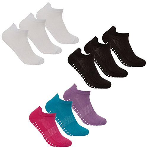 Red Tag Ladies Yoga Socks 9 Pair Non Slip Sole Grip Trainer Liner For Pilate, Dance, Fitness