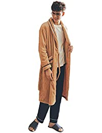 8f31969912 Mens Bathrobe Flannel Dressing Gown Luxury Sleepwear Warm Pajamas Soft  Housecoat (Color   Khaki