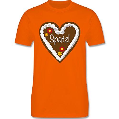 Oktoberfest Herren - Lebkuchenherz Spatzl - Herren Premium T-Shirt Orange