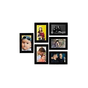 Tonkwalas Collage Individual Photo Frames, Set of 6,Wall Hanging (3 pcs - 4x6 inch, 3 pcs - 6x4 inch),Black