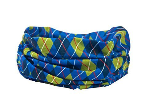Argyle-Muster blau/grün/schwarz - RUFFNEK Multifunktionale Kopfbedeckung Kragen für Männer, Damen & Kinder - golf Halswärmer, Halstuch, Stirnband, Radsport, Laufen, Wandern, Snowboarding, Skifahren (Argyle-kragen)