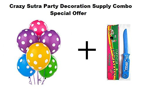 Crazy Sutra Party Decoration Supply Combo Special Offer: Colorful Polka Dot Printed Multicolor Balloon (Pack of 50) + Happy Birthday Musical Knife