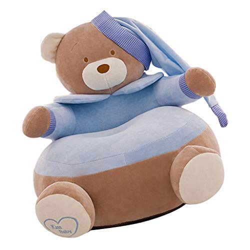 SM SunniMix Silla Infantil de Espuma, Sofá Suave y Personalizado para Niños, Regalo de Cumpleaños - Oso Azul Cielo