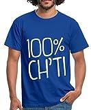 Nordiste 100% Ch'ti T-Shirt Homme, XL, Bleu Royal...