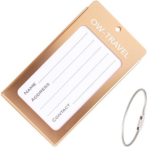 Kofferanhänger mit Namensschild Adressschild Gepäckanhänger aus Metall (Champagner 1 - Pack) (Set Wrap Luggage Handle)