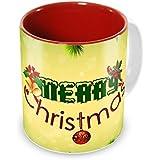Tuelip Beautiful Merry Christmas Printed Inside Red For Tea Mug And Coffee Mug Ceramic Mug 350 ML