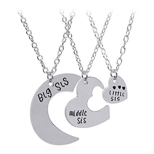 3 Piezas Letras grabado de forma de corazón de rompecabezas colgante de diseño de juego de collar para grandes hermanas pequeños regalos amigos