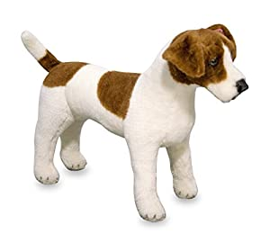 Melissa & Doug Melissa&Doug- Jack Russell Terrier Dog Giant Juguete de Pluche, Color marrón, Blanco LLC 14867